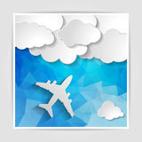 White airplane with paper clouds on the Abstract blue geometric. Background with triangular polygons vector illustration