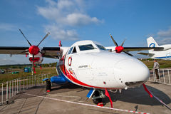 White airplane with propellers Stock Photo