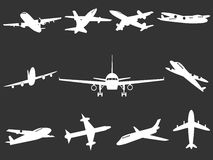White Airplane silhouettes Royalty Free Stock Photos
