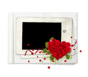 White album with red roses heart Stock Image