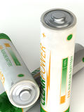White Alkaline battery. Three batteries are non-existent brand on a white background Royalty Free Stock Photo