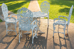 White Alloy chairs and table Royalty Free Stock Photo