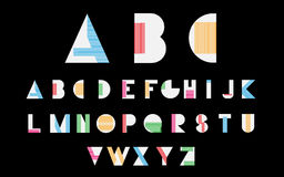 White alphabetic fonts. With color lines on black background. Vector eps10 illustrator stock illustration