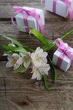 White alstroemeria and gifts Stock Photography