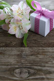 White alstroemeria and gifts Stock Images