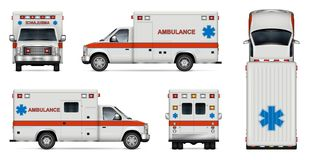 Realistic ambulance car vector illustration. White ambulance car vector mock-up. Isolated medical van template on white background. All layers and groups well vector illustration