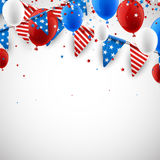 White American background with balloons. USA Independence Day background with flags, stars, balloons. Vector paper illustration Stock Images