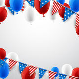 White American background with balloons. USA Independence Day background with flags and balloons. Vector paper illustration Royalty Free Stock Image