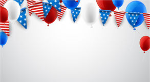 White American background with balloons. USA Independence Day background with flags and balloons. Vector paper illustration Royalty Free Stock Photography