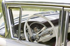 American vintage car interior. White American vintage car, interior Stock Photo