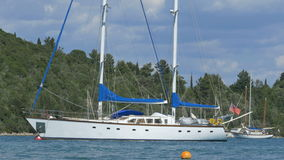 White Anchored Yacht stock footage