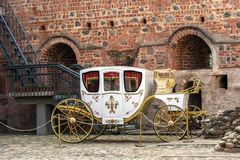 White ancient brougham. royalty free stock photos