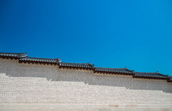 White ancient korean style wall with Blue sky Royalty Free Stock Photo