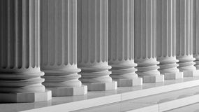 White ancient marble pillars. In a row Royalty Free Stock Photography
