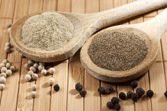 White And Black Pepper Stock Photography