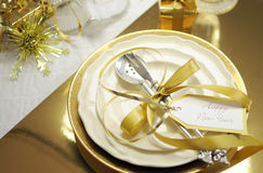 White And Gold Happy New Year Elegant Fine Dining Table Place Setting Royalty Free Stock Photography