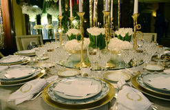 White And Golden Table Decoration With White Flowers, Event Stock Image