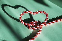 Free White And Red String In Heart Shape Stock Photography - 110308592