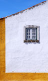 White And Yellow Wall And Window In Medieval House, Portugal Stock Photos