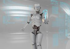 White android. Android in a futuristic white stage Stock Images