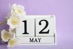 White anemone flower. Bouquet white anemone flower and calendar with date March 12 on purple background. Concept mother`s day royalty free stock photo
