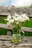 White anemones in glass jar on old wooden table Royalty Free Stock Photo