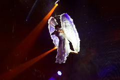 White Angel, Aerial Performance, Stage Spotlights Stock Photo