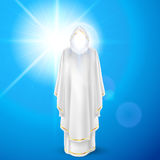 White angel against blue sky. Gods guardian angel in white dress against sky background and bright sun flare. Religious concept Stock Image
