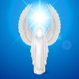 White angel against blue sky Royalty Free Stock Image