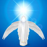 White angel against sky background Royalty Free Stock Photography