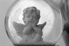White Angel in a bubble. White angel in the bubble , white and black for romantic style Stock Photos