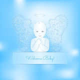White angel with the delicate wings on a blue background. Greeting card with a little angel. The kid with wings, angel, heaven. Congratulation text Stock Photos