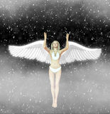 White Angel Fairy Snowing Space Illustration Stock Photography