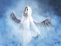 3D rendering of a white angel in heaven. A white angel with its wings spread, 3D rendering. She is surrounded by smoke or clouds like it`s a dream or in heaven Stock Photo