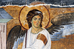 White Angel or Myrrhbearers on Christ's Grave. Is world famous fresco from the Mileseva monastery circa 1230 AD in Serbia, it depicts an angel sitting in front Stock Photography