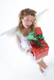 White angel with present Royalty Free Stock Photos