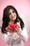White angel with red hearts Stock Photography