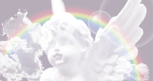 White Angel on the sky with rainbow Stock Photos