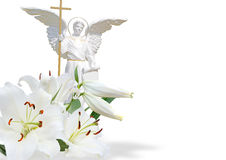 White angel and white lily. On white background Royalty Free Stock Image