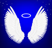 White angel wings. Illustration with blue background Royalty Free Illustration