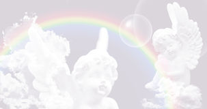 White Angels on the sky with rainbow Stock Photos