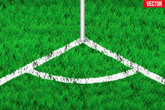 White angular lines on grass field. Royalty Free Stock Photos