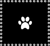 White animal pawprint icon framed with paw prints square border. Isolated on black  background. Vector illustration, sign, symbol, logo, clip art, banner Stock Photo