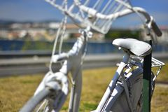 White antique bicycle with basket stock image