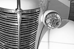White antique car. Front details of white classic or vintage car Stock Image