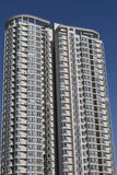 White apartment building. Under blue clear sky Royalty Free Stock Image