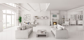 White apartment interior 3d render. Interior of white apartment with two sofas interior 3d render Stock Photos