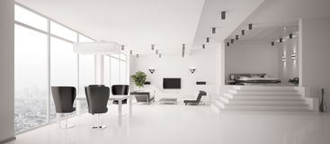 White Apartment interior panorama 3d Royalty Free Stock Photography