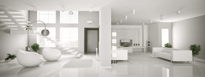 White apartment interior panorama 3d Stock Photos