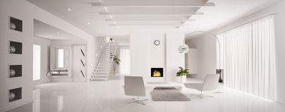 White apartment interior panorama 3d render Royalty Free Stock Photo